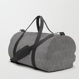Modern rose gold geometric triangles blush pink abstract pattern on grey cement industrial Duffle Bag