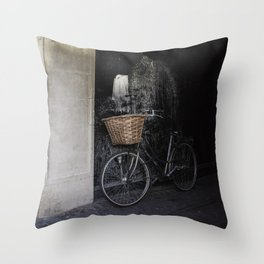 Bicycle Against Splattered Wall Throw Pillow