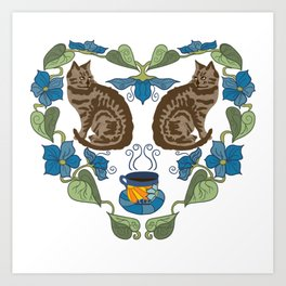 Coffee and Cats Art Print