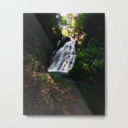 Stunning waterfall Šum in magical forest Metal Print