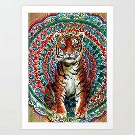 Tiger Watercolor Yoga Mandala Art Print