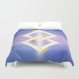 Linked Lilac Diamonds :: Floating Geometry Duvet Cover