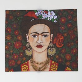 Frida with butterflies Throw Blanket