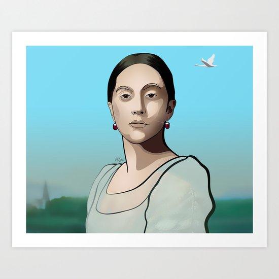 Modernised 'Mademoiselle Caroline Rivière' Art Print