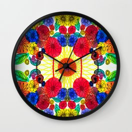 Garden Party - Illustrated flowers and leaves Wall Clock