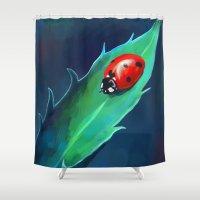 ladybug Shower Curtains featuring Ladybug by Freeminds