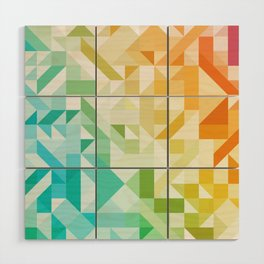 Colorful Geometric Pattern Saturated Rainbow Pattern Design (Red Pink Orange Yellow Green Blue) Wood Wall Art
