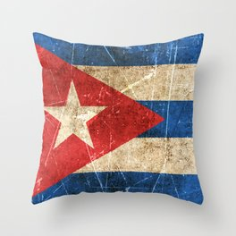 Vintage Aged and Scratched Cuban Flag Throw Pillow