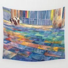 Dog and the city Wall Tapestry