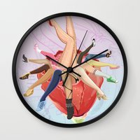 shoe Wall Clocks featuring Shoe Love by Wendy Ding: Illustration