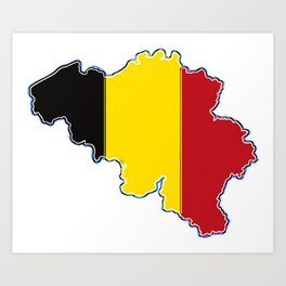 Belgium Map with Belgian Flag Art Print