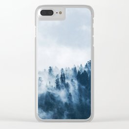 CLOUDS - WHITE - FOG - TREES - FOREST - LANDSCAPE - NATURE - TIMBER - WOODS - PHOTOGRAPHY Clear iPhone Case