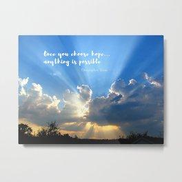 Divine Light Bursting Through Clouds Hope Metal Print