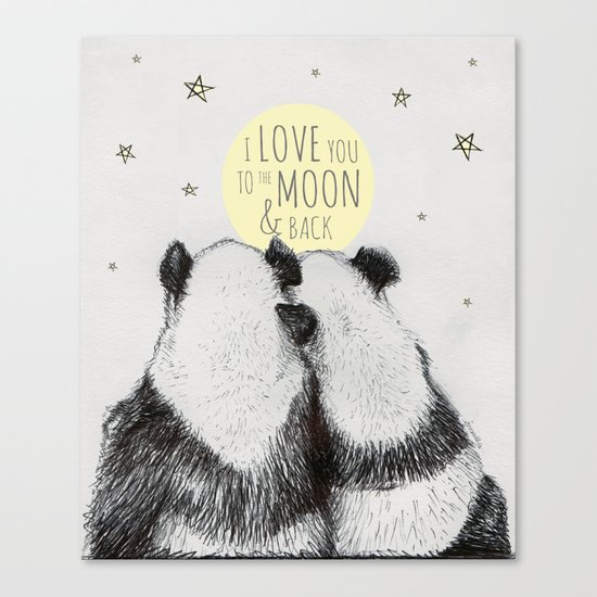 Pandas Love To The Moon Back Canvas Print By Isoscellart Society6