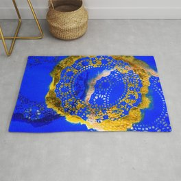 Royal Blue and Gold Abstract Lace Design Rug