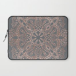 Mandala Rose Gold Pink Shimmer on Soft Gray by Nature Magick Laptop Sleeve