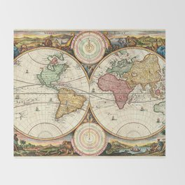 Vintage Maps Of The World Throw Blanket