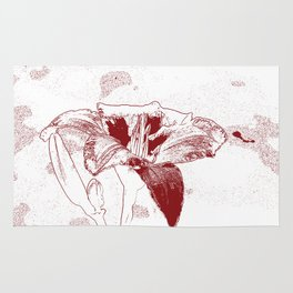 Day Lily Print in Red Rug