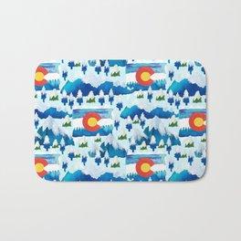 Winter watercolor Colorado Bath Mat