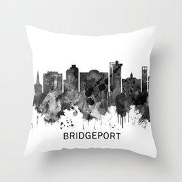 Bridgeport Connecticut Skyline BW Throw Pillow