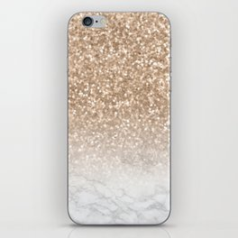 Sparkle - Gold Glitter and Marble iPhone Skin