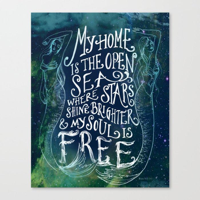 My Home is the Open Sea (Dark Night) Canvas Print