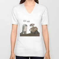 wall e V-neck T-shirts featuring R2D2 and Wall E by Victoria Schiariti