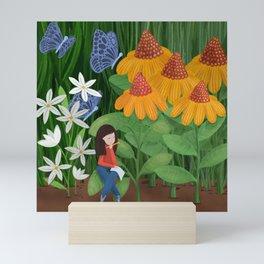 Drawing in he garden Mini Art Print