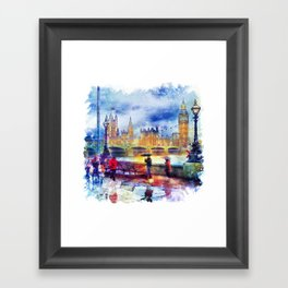 London Rain watercolor Framed Art Print