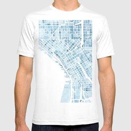 Map Seattle Washington Blueprint watercolor map T-shirt