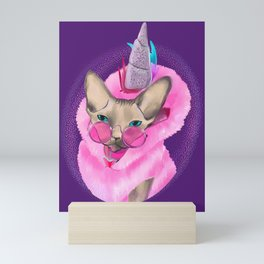 Magical Caticorn - Fuzzy Sphynx Cat Wearing a Pink Unicorn Hoodie Mini Art Print