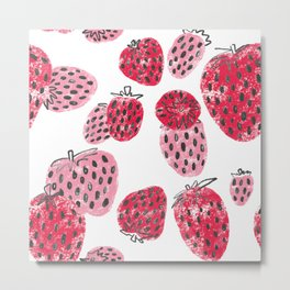 Sweet Pink and Red Textured Strawberries Metal Print