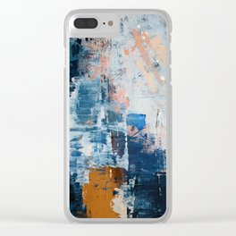 Shapes in the Clouds: a vibrant mixed-media piece in blues and pinks by Alyssa Hamilton Art Clear iPhone Case