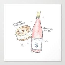 Ice Cream Sandwich + Rosé Canvas Print