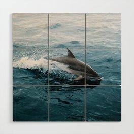Dolphin in the Atlantic Ocean - Wildlife Photography Wood Wall Art
