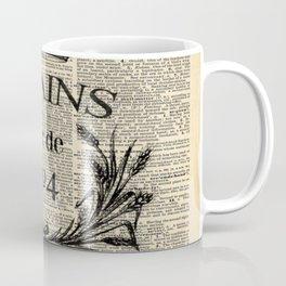 dictionary print rustic shabby french country wheat wreath Coffee Mug