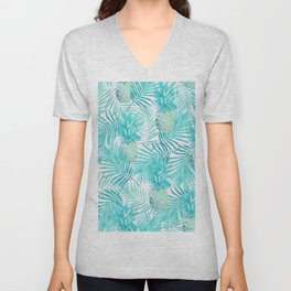 Turquoise Palm Leaves and Pineapples on Pink Unisex V-Neck