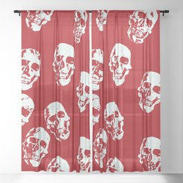 Hot Skulls, red white Sheer Curtain