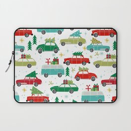 Christmas holiday vintage cars classic festive christmas tree snowflakes winter season Laptop Sleeve