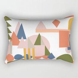 Folksy Geometric Abstract Landscape Rectangular Pillow