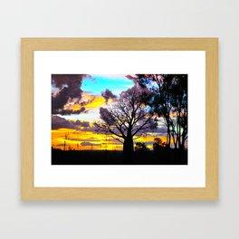 Mellow Yellow Sunset thru Boab Framed Art Print