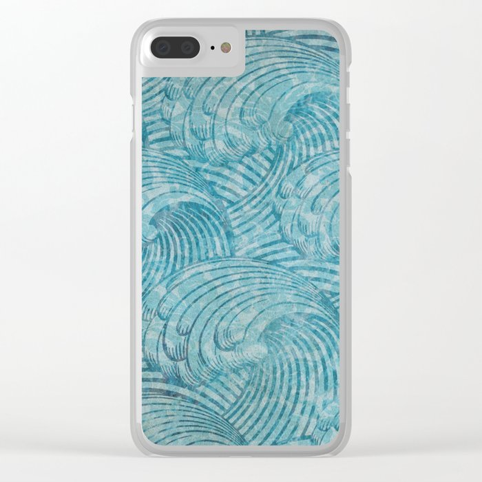 Blue Waves Clear iPhone Case