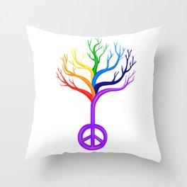 Rainbow Peace Sign Tree Throw Pillow