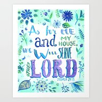 bible verse Art Prints featuring Purple and Blue Bible Verse by SilviaGarciaArt
