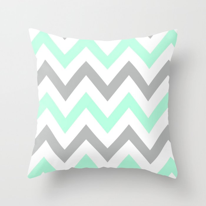 MINT & GRAY CHEVRON Throw Pillow