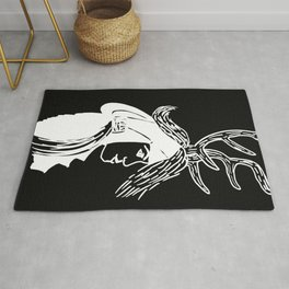 Deer Woman - Black and White Palette Rug
