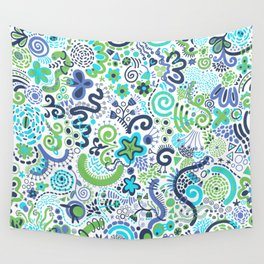 Teal Blue Green Zendoodle Wall Tapestry