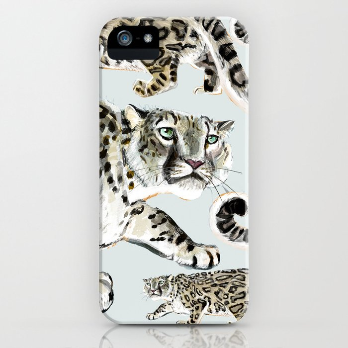 Snow leopard in ice grey iPhone Case