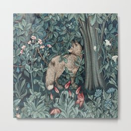 William Morris Forest Fox Greenery apestry Metal Print