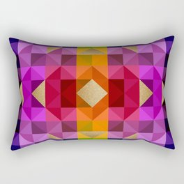 Colorful Diamond Tapestry with Gold Accents Rectangular Pillow